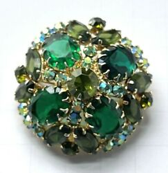 Vintage Juliana Dande Faceted Domed Emerald Green And Ab Rhinestone Brooch Pin