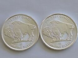 Lot Of 2 1 Troy Ounce .999 Fine Silver Buffalo Liberty Rounds - Buandnbsp