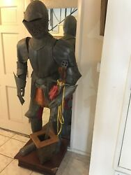 Medieval Armor Suit Man Knight Sword Life Size Statue Vtg Old Catholic English