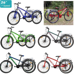 Adult 26and039and039 Mountain Bike Tricycle 3-wheel 7-speed Cruise Trike W/shopping Basket