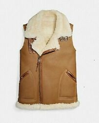 Nwt1295 Coach Reversible Natural Shearling Sheepskin Leather Moto Vest Brown M