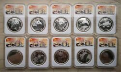 2019 China 10x5g Solid Silver Panda Medals Set - 70th Anniversary Of P.r.c.