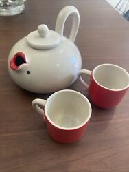Fitz And Floyd Lip Service Teapot And 2 Cups - Marilyn Monroe Red Lips And Mole
