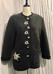 Vintage Your 6th Sense Gray Boiled Wool Button Front Embroidered Jacket Coat L