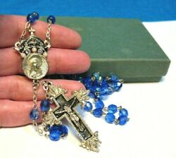 The Vatican Library Collection Silver Blue Glass Rosary 26 W/ Box And Insert