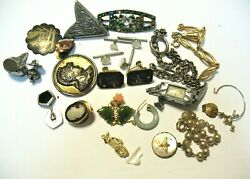 Antique Vintage Jewelry Lot Of 24 Pieces For Parts Repair Some Wearable Mixed