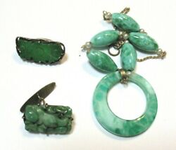 Antique Vintage Carved Jade Jewelry Lot Of 3 Pcs For Parts Repair 19 Grams