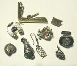 Sterling Silver Vintage Antique Jewelry Lot For Parts Crafting 9 Pcs 49.4 Grams