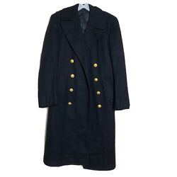 Vintage Us Military Navy 100 Wool Overcoat 36r Heavy Long Naval Buttons