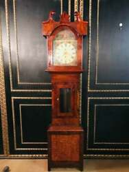 Antique English Grandfather Clock To 1820 Mahogany With Gesprengten Gable
