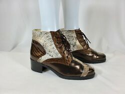 St. Louis Women#x27;s Boots Size 8.5 B Nycole Lace Up 2quot; Heel Animal Print Combat $22.50