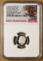 2018 Silver Proof Roosevelt Dime And039first Day Of Issueand039 Ngc Pf 70 Ultra Cameo