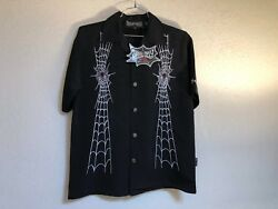 Dragonfly Clothing Company Spider Embroidered Shirts FT 704 Spun Out Black