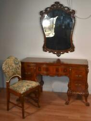 1910 Antique French Carved Burl Walnut Vanity Ladies Desk Mirror And Chair Set