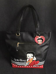 Betty Boop Casual Sport Large Tote Bag, Black Faux Leather New