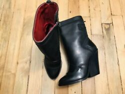 Diesel Mid-calf Heeled Black Leather Womens Boots Nwob Size 5 36