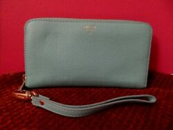 FOSSIL CLUTCH WRISTLET LEATHER WALLET SOFT LT. BLUE VERY NICE $12.95