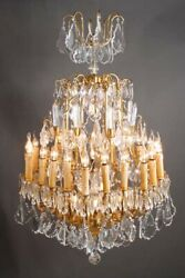 French Prism Chandelier In Louis Quinze Style With 18 Arms Brass