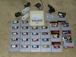 Super Nintendo Snes Console W/ Controllers Cables And Games Tested Works