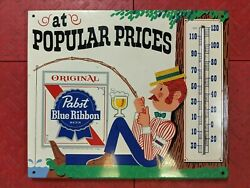 Vintage Pabst Blue Ribbon Fishing Thermometer - Metal