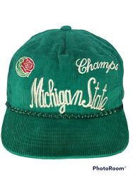 Vintage That Hat Michigan State Spartans Green Corduroy Rope Trucker Snapback