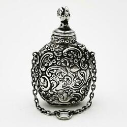 Beautiful Victorian Import Sterling Silver Perfume Scent Bottle London 1900 Swan