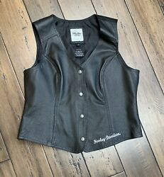 Harley-davidson Patches And Pins Women's Leather Vest Size Large 98197-11vw