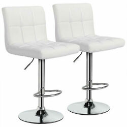 Set Of 2 Counter Height Bar Stools Pu Leather Swivel Pub Chairs Adjustable White