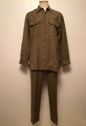 Wwii Special Trousers 32 X 31 And Od Flannel Shirt M-1937 Dated 1942 Wool