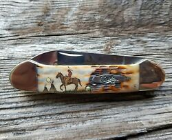 Case Xx Canoe Knife Color Scrimshaw Of A Native American Brave Riding A Horse