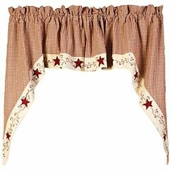Stars 'n' Berries Lined Window Swag Valance 72 X 36, By The Country House