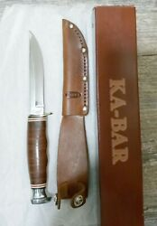 Ka-bar 02-1232 Leather 8.25 Mint In Box Overall Fixed Blade Knife And Sheath