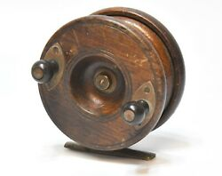 Large Vintage S. Allcock Wood And Brass Fly Fishing Reel 4 In