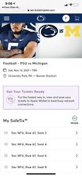 Michigan Vs Penn State Tickets 4 Tickets/2 Parking Passes Yellow
