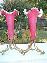 13 Victorian Antique Epergne Trumpet Vases Pink Spangle Glass Brass Ormulo Ft