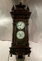 Rare Vintage/antique Vienna Style Wall Clock- Perpetual Calendar And Moon Phase