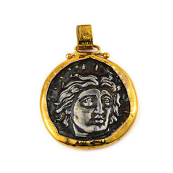 Helios Sun God Andndash Ancient Greek Rhodes Coin 14k Gold And Silver