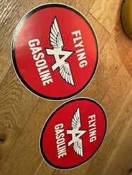 """Vintage Flying A Gas Oil Sign Stickers Decals Pump Lubester Display Gasoline 12"""""""