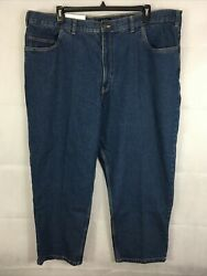 New Mens Big And Tall Size 46x28 Blue Jeans Loose Fit Tapered Leg Harbor Bay J3