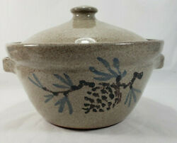 Almquistandrsquos Old Time Pottery Lg Covered Casserole Baking Dish Pinecone Speckled