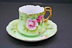 Vintage Lefton China Heritage Rose Tea Cup And Saucer Handpainted