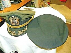 U S Navy Officers Hat- Combination Commander / Captain Gold Wire Scrambled Eggs