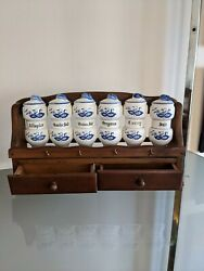Vintage Blue Onion Spice Jars 6 And Wooden Rack W/ 2 Drawers