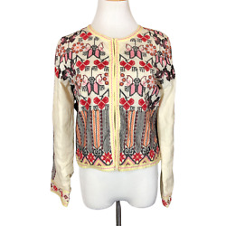 Chelsea And Violet Size S Cream Cotton Embroidered Jacket Hook-front