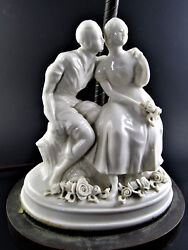 Vintage Electric Lamp With R Pollin Porcelain Statue Figurine Base No Shade