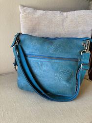 FOSSIL Turquoise Tooled Leather Hobo Crossbody Shoulder Bag $35.00