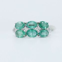Emerald Diamond Gemstone Rings Cocktail Ring Statement Band Christmas Gift 7x5mm