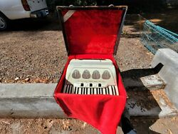 Vintage Galanti Accordion Mother Of Pearl Made In Italy With Leather Case