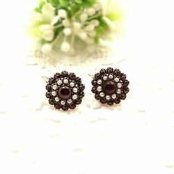 Fine Round Vintage Garnet Earrings W/seed Pearls And14ct Gold Wires ГРАНАТ 210622h