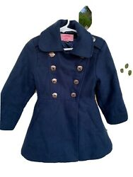 Girls Navy Copper Key Double Breasted Pea Coat